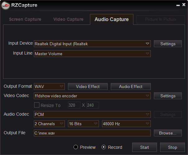 audio capture window