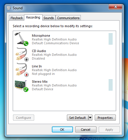 audio mix device enabled